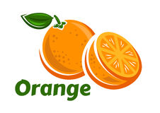 Whole and half of orange fruits. Orange fruits poster in cartoon style depicting whole and half of fresh juicy citruses with green stalk and leaf isolated on Stock Photo