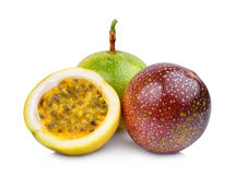 Whole and half of passion fruit isolated on white Royalty Free Stock Photography