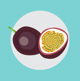 Whole and half of passion fruit with leaves flat design Stock Image