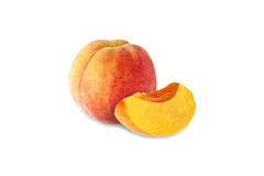 Whole and half peach isolated on white. Background Stock Images