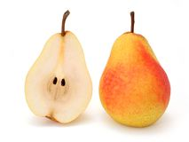 Whole and half pear Royalty Free Stock Photography