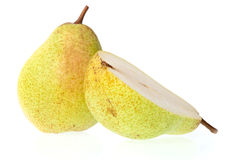 Whole and half pear Royalty Free Stock Images