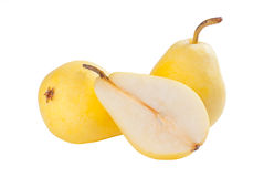 Whole and half pears Royalty Free Stock Photography