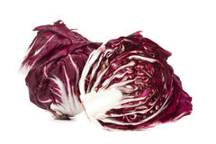 Whole and half radiccio lettuce Royalty Free Stock Images