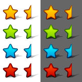 Whole and half rating stars with shadow Royalty Free Stock Photo