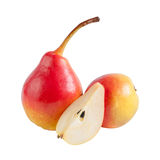 Whole and half ripe pears Royalty Free Stock Images