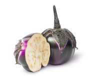 Whole and half round eggplant Royalty Free Stock Image