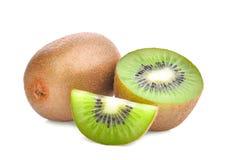 Whole and half with slice of kiwi fruit isolated on white Royalty Free Stock Photos