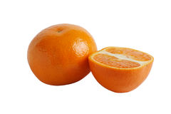 Whole and half tangerine Royalty Free Stock Photos