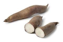 Whole and half Yacon roots Royalty Free Stock Photo