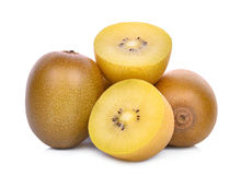 Whole and half of yellow or gold kiwi fruit isolated on white Royalty Free Stock Photo