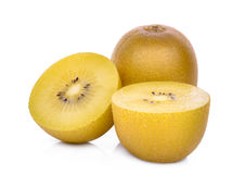 Whole and half of yellow or gold kiwi fruit  on white Stock Image