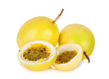 Whole and half of yellow passion fruit isolated on white Royalty Free Stock Photography