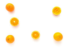 Whole, Halved and Squeezed Oranges Royalty Free Stock Photography