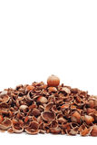 Whole hazelnut on top of cracked Royalty Free Stock Photography