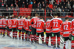 The whole hockey team Donbass. Rear view. Stock Image