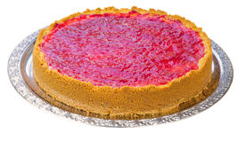 Whole homemade raspberry cheesecake Stock Photography