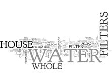 Whole House Water Filters Word Cloud. WHOLE HOUSE WATER FILTERS TEXT WORD CLOUD CONCEPT Stock Images