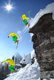 The whole jump of Skier from cliff Stock Photos