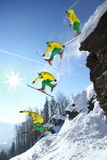 The whole jump of Skier from cliff Royalty Free Stock Photo