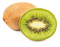 Whole kiwi fruit and half kiwi fruit isolated Stock Photography