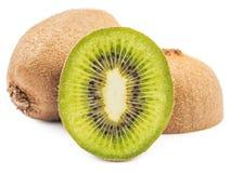 Whole kiwi fruit and half kiwi fruits isolated Royalty Free Stock Image