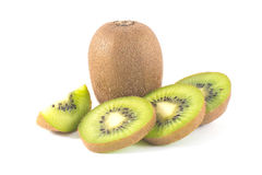 Whole kiwi fruit and his segments Stock Photography
