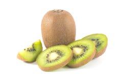 Whole kiwi fruit and his segments. Fresh kiwi isolated in white background Stock Photography