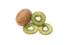 Whole kiwi fruit and his sliced segments isolated Royalty Free Stock Photography