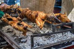A whole lamb being roasted on a fire Royalty Free Stock Photos