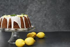 Whole Lemon Bundt Cake with Fresh Lemons. Whole lemon cream cheese bundt cake with slices of fresh lemons and mint on top. Extreme shallow depth of field with royalty free stock images