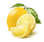 Whole lemon, half and quarter slice isolated on white. Background as package design element stock images