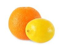 Whole lemon and orange fruits  isolated on white background Stock Images