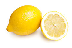 Whole Lemon and Slice on White Royalty Free Stock Images