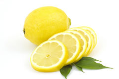 Whole lemon and slices Royalty Free Stock Photo