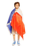 Whole-length boy picture wrapped in flag of France Stock Photography
