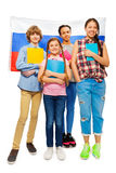 Whole-length picture of kids with Russian flag stock photography