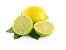 Whole lime and half Stock Image