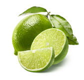 Whole Lime, Half And Quarter Slice Isolated On White Stock Image