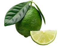 Whole lime and piece Royalty Free Stock Image