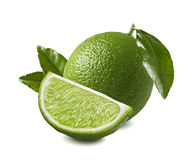 Whole lime quarter piece  on white background Stock Image