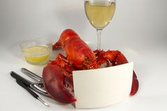 Whole Lobster Holding Menu or Recipe Card Royalty Free Stock Photos