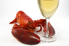 Whole Lobster with Wine Glass. Whole lobster holding a glass of white wine in its claw on white Stock Image