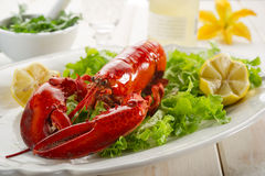 Whole lobster with salad Royalty Free Stock Images