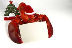 Christmas Lobster with Menu. Whole lobster wearing santa hat holding a blank recipe or menu card Stock Photo