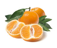 Whole mandarin and one cut half  on white Royalty Free Stock Images