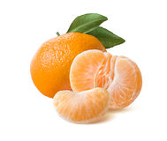 Whole mandarin peeled half and slice  on white Stock Image
