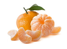 Whole mandarins peeled and unpeeled  on white Stock Photos