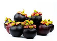 Whole mangosteen showing purple skin isolated on white background with space. Tropical fruit from Thailand. The queen of fruits. Asia fresh fruit market stock photos