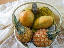 Basket of Whole Organic Fruits royalty free stock images